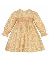 long sleeve yellow flower girl dress