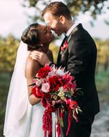 yolana douglas wedding couple kissing holding bouquet