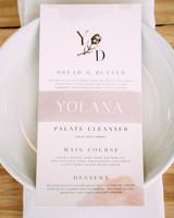 yolana douglas wedding reception menu on plate