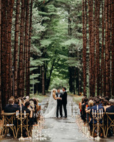 forrest wedding with candle aisle decorations