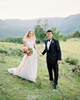 amanda alex wedding bride and groom holding hands