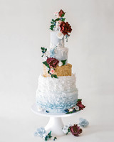 Blue and Gold Wedding Cake with Ruffled Fondant and Sugar Flowers