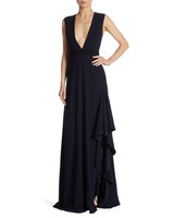 black monique lhuillier v-neck gown