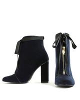 blue velvet zip-up bootie