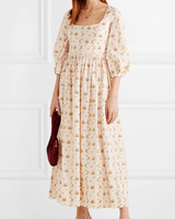spring bridal shower dress floral print cotton maxi
