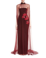 sheet burgundy floral gown