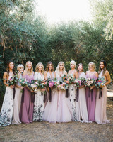 chick bridesmaids light and dark floral pattern gowns
