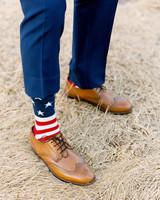 cool groom accessories american flag socks brown shoes