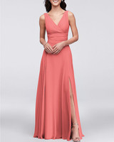 coral chiffon floor length gown
