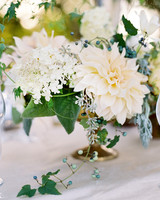 dahlia wedding centerpieces white flowers and greenery