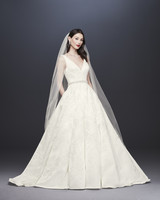 davids bridal oleg cassini fall 2019 ball gown v neck sleeveless floral applique beaded belt