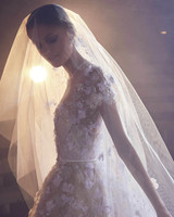 Elie Saab Floral Short Sleeve with Veil Wedding Dress Fall 2018