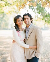 fall wedding couple