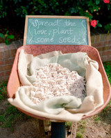 wheelbarrow favor display