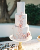 blue pink lace wedding cake