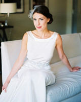 bride with boat neck and side bun