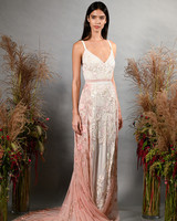 hermione de paula fall 2019 v-neck sleeveless sheath with pink floral overskirt
