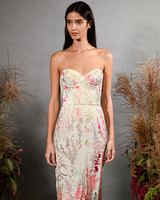 hermione de paula fall 2019 sweetheart strapless sheath with multi-colored floral embroidery