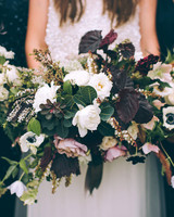 wedding bouquet green white flowers
