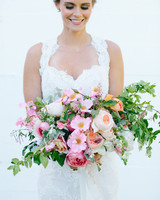 Big Pink and Orange Wedding Bouquet