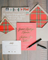 Plaid and Gold Metallic Stationery Suite