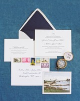 navy-and-white wedding invitation