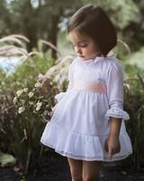 white lace flower girl dress Los Encajeros ribbon