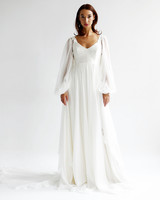 leanne marshall wedding dress spring 2019 long bell sleeves a-line