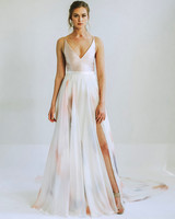 leanna marshall pastel pink spaghetti strap high slit wedding dress spring 2020