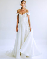 leanna marshall off the shoulder v neck a line wedding dress spring 2020