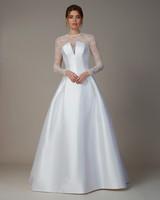 liancarlo wedding dress fall 2018 v-neck sheer lace long-sleeve