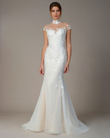 liancarlo wedding dress fall 2018 cap sleeve high neck illusion