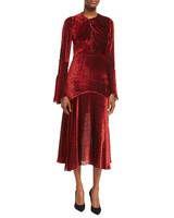 long sleeve red gown