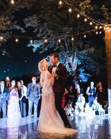 wedding couple first dance on antique mirrored dance floor