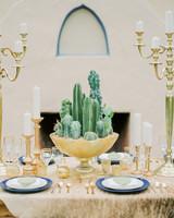 modern wedding centerpiece made of cacti