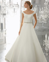 morilee wedding dress spring 2018 belted scoop-neck a-line