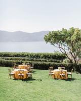 informal outdoor reception set up