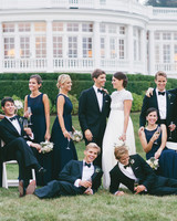 Long Navy Bridesmaids' Dresses