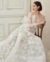 Oscar de la Renta cap sleeve v-neck wedding dress fall 2019