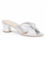 outdoor wedding shoes silver knotted low-heel sandals