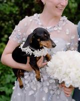peony matthew england wedding bridesmaid holding dog