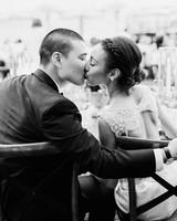 pillar paul wedding reception couple kiss
