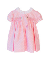 pink flower girl dress white polka dots
