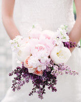 bouquet with pink peonies and lavender