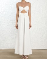 white maxi dress with bow illusion waist and sweetheart neckline