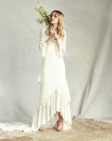 savannah miller lace three-quarter length sleeves wedding dress spring 2020