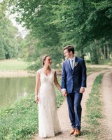 wedding couple walking pond
