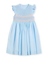 summer flower girl dress blue ruffle sleeves