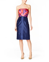 jax strapless striped bodice dress
