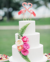 Wedding Cake with Flamingo Cake Toppers